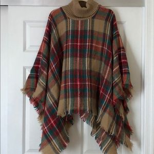 Sweaters - *SOLD* OS Knit Plaid Poncho